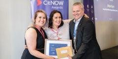CitNOW CEO, Alistair Horsburgh presenting two women a CitNOW awards certificate