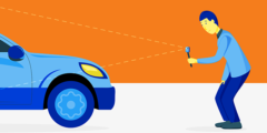 Web top tips feature image, animated man recording a video of a car