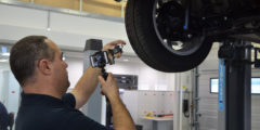 Technician recording a CitNOW workshop video, showing the tyre tread depth