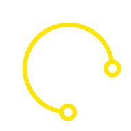 Silhouette of a person surrounded by white and yellow circles